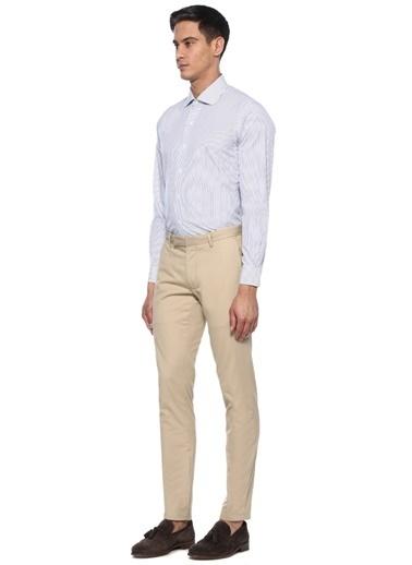 Brooks Brothers Brooks Brothers 101424529 Ingiliz Yaka Uzun Kol Çizgi Desenli  Erkek Gömlek Beyaz